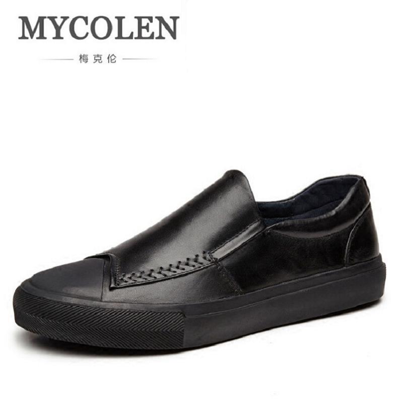 Zapatos Nuevo Genuino Los Transpirable Cuero Hombre Calzado Casual Masculino Hombres Negro Mycolen De Mocasines Fqn5ft