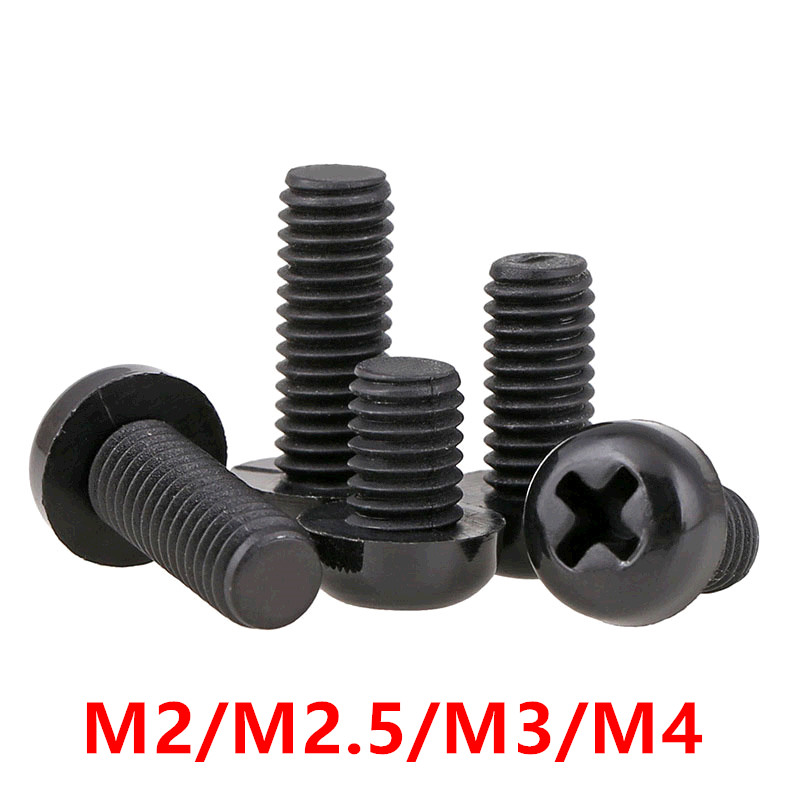 100pcs Nylon round screw <font><b>M2</b></font> <font><b>M2</b></font>.5 M3 M4 Black Plastic Nylon Round Pan Phillips Head Machine Screw Bolts Hex Nuts length 4-<font><b>30mm</b></font> image