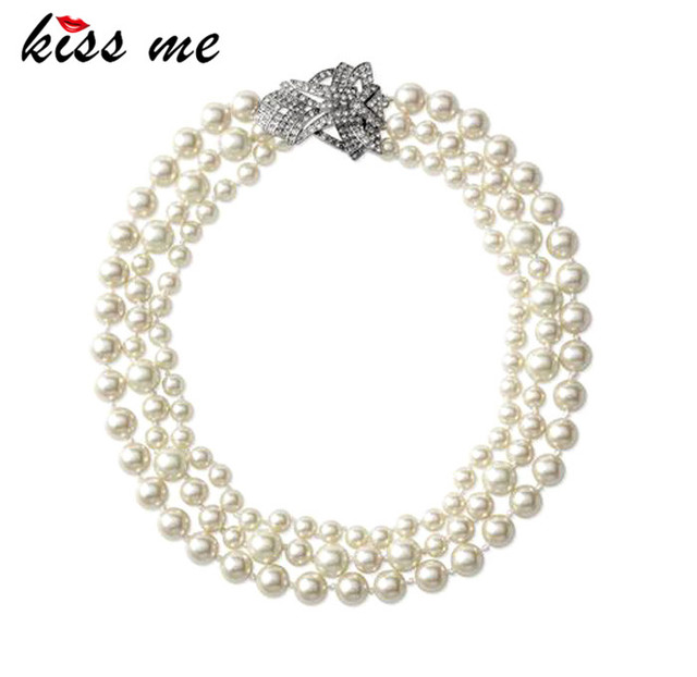 New Styles 2014 Fashion Jewelry Glass Simulated Pearl Necklace