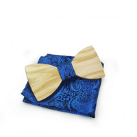 New Fashion Adult Men Business Casual Party Wooden Neck Tie Set Bow Tie and Square Handkerchief Wedding Apparel Accessories
