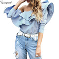 TANGNEST Fashion Off Shoulder Ruffles Shirt 2017 Spring Brand Design Sexy Blue Striped Blouse Long Sleeve Casual Tops WCL1335