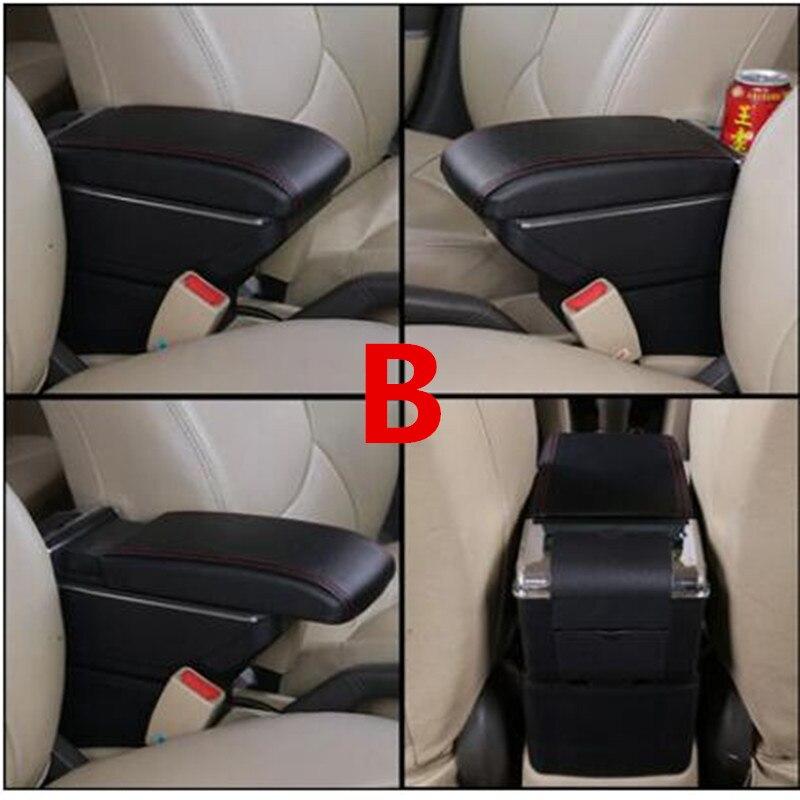 Для Volkswagen Polo подлокотник коробка Polo V Универсальный 2009- Автомобильная центральная консоль Модификация аксессуары двойной приподнятый с USB - Название цвета: B black red line