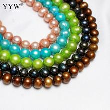 YYW High Quality Cultured Potato Freshwater Pearl Beads 8-9mm Black Green Yellow Purple Color Loose Beads for Jewelry Making DIY