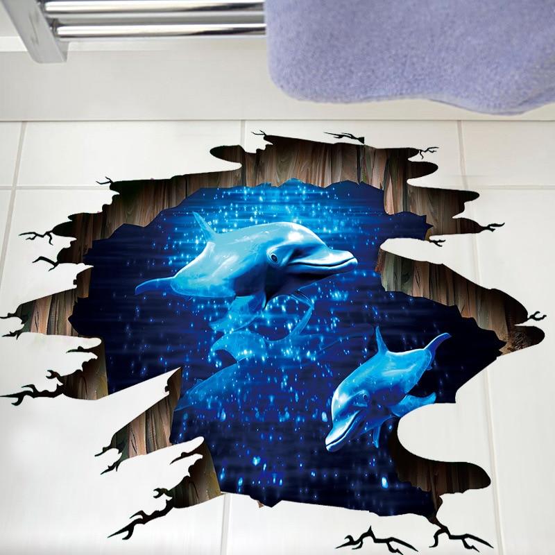 3D Blue Deep Sea Dolphin Gebrochen Wandaufkleber Kinder Schlafzimmer Badezimmer Wand Wohnzimmer Decke Wasserdichte Boden Aufkleber