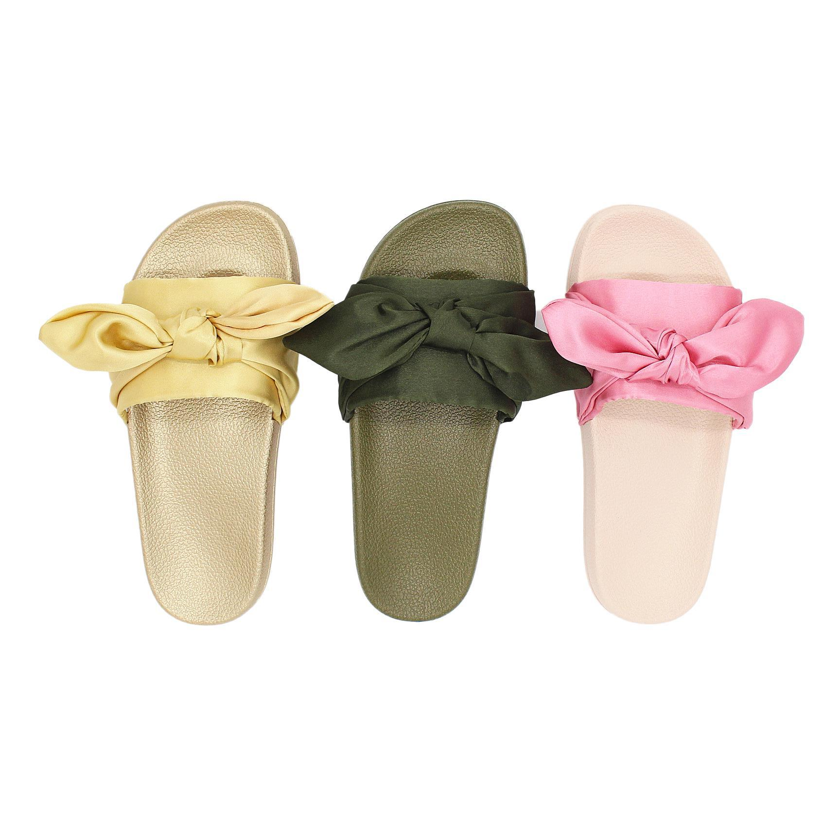 Fashion Silk Bow Slides Women Summer Beach Shoes Woman Slippers Flat Heels Flip Flops Ladies Bohemia Sandals Flat with Slippers in Slippers from Shoes
