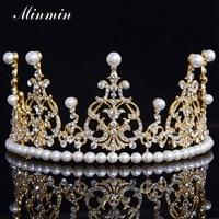 M M Jewelry Top Austrian Crystal Pearl Tiara 14K Gold Silver Plated Crown Wedding Fashion Hair