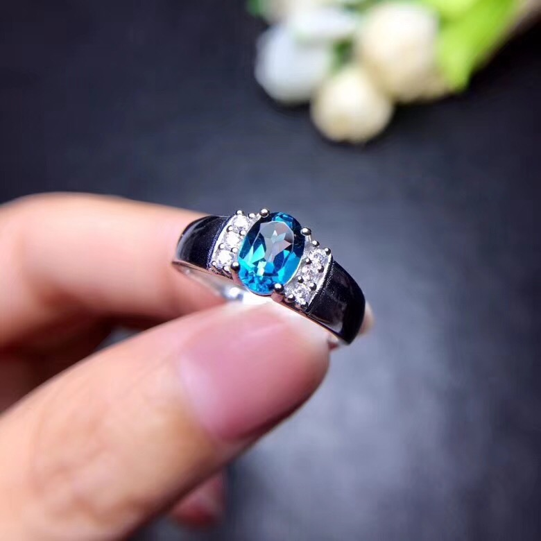 Natural blue topaz ring Free shipping Natural real blue topaz 925 sterling silver Fine jewelry helon sterling silver 925 flawless 11x9mm emerald cut 4 36ct real blue topaz natural diamond engagment wedding ring fine jewelry