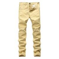 Homens Jeans Skinny Buraco Calças Cáqui europeu Dobra Plissado Luz Cor Sólida Comprimento Total Calças Botão Emenda Denim Reta
