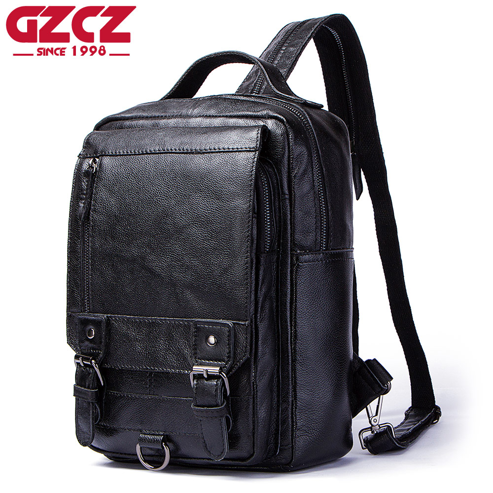 GZCZ Men Backpacks Genuine Leather Softback Bag Laptop Backpack Large Capacity Stundet Backpack Casual Style Bag Water RepellentGZCZ Men Backpacks Genuine Leather Softback Bag Laptop Backpack Large Capacity Stundet Backpack Casual Style Bag Water Repellent
