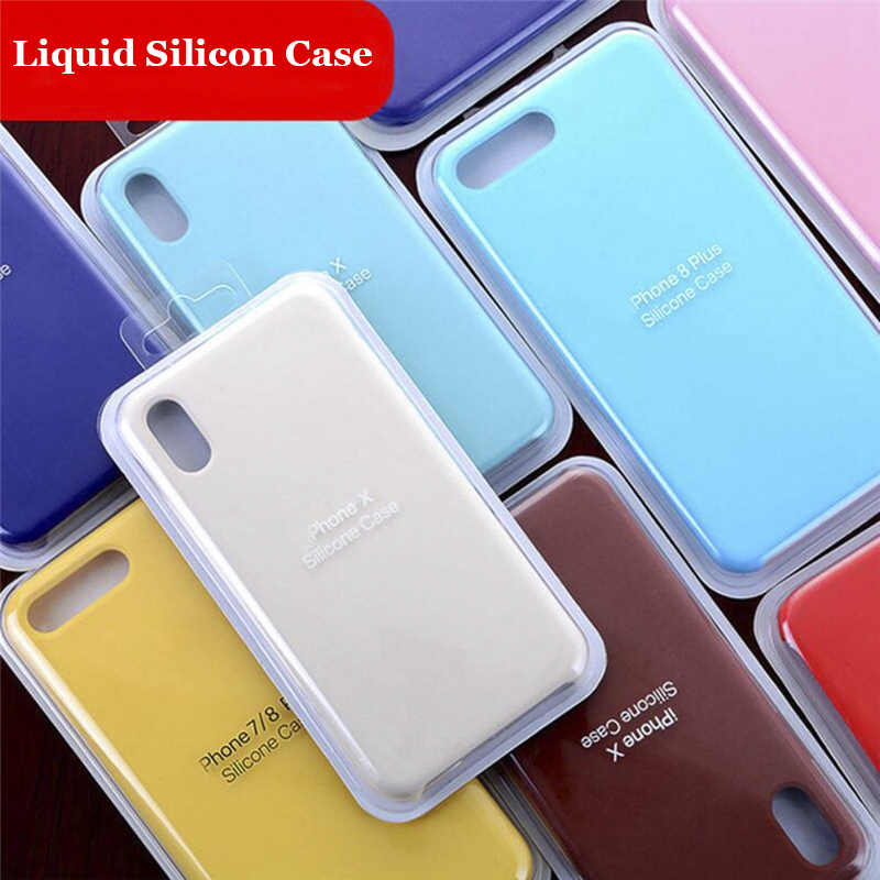 Luxury Official Silicone Case for iPhone 7 8 Plus Coque Funda Apple Case iPhone X XS Max XR 6 6S Plus 5 5S SE Case Back Cover