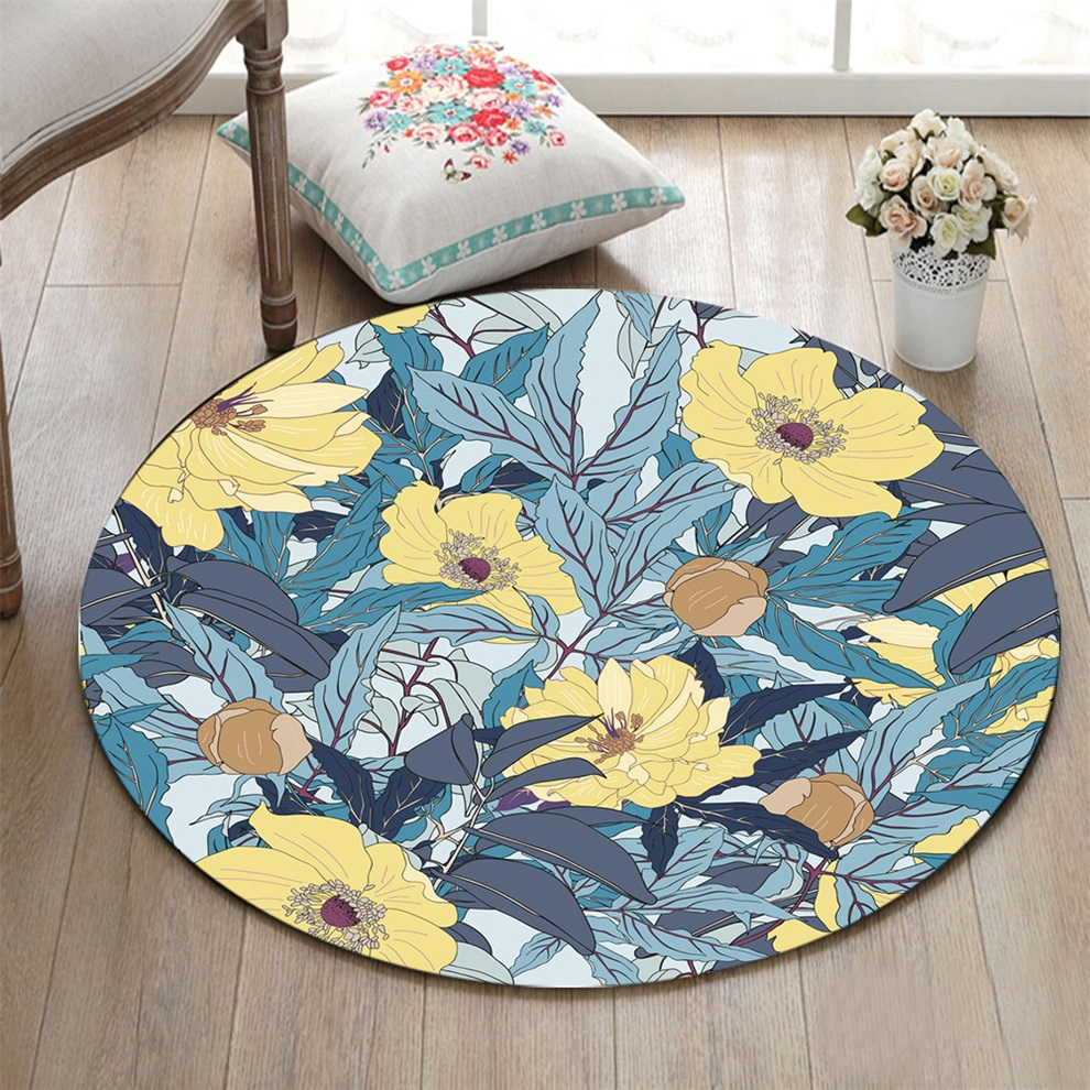 Yellow Flowers And Leaves Round Living Room Carpets ...