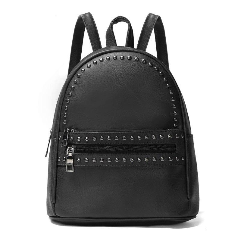 Femmes petit sac à dos en cuir Rivet noir sacs à dos pour adolescente filles cartable haute qualité femme sac à bandoulière dames sac à dos