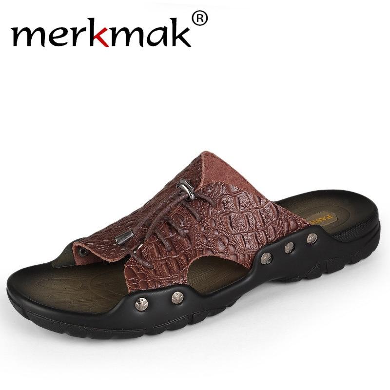 Merkmak 2018 New Men Genuine Leather Holiday Beach Shoes Flip Flops Men's Casual Flat Shoes Sandals Summer Slippers For Men