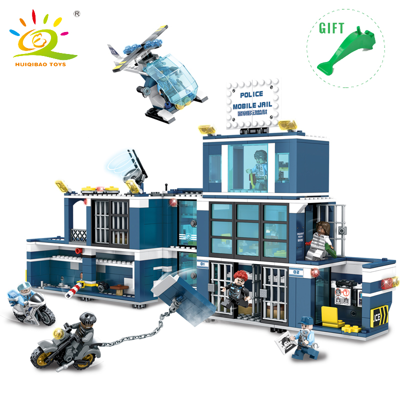 960Pcs Children City Police Prison Building Blocks Educational Toys Assembled DIY Toys For Kids Compatible Legoed Police Figures 111pcs children blocks toys police series helicopter blocks toys assembled model building kits educational diy toys for kids