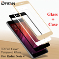 DFIFAN GLASS + CASS 9H 0.26mm 3D Full Cover Tempered Glass for Xiaomi Redmi note4 note 4 Edge Curved Screen Protector Film TPU