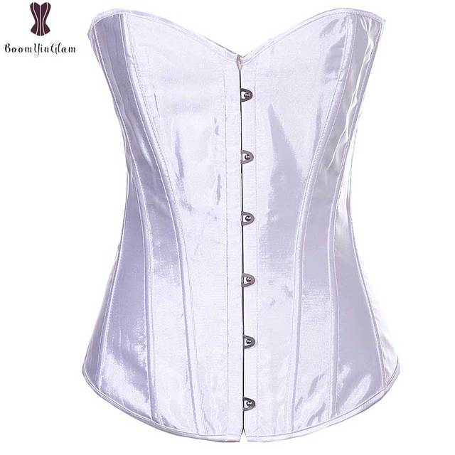 0965a3c0f73 Wedding Corset Top White Overbust Elegant Bustier Gothic Sexy Lingerie 6XL  Plus Size Corselet Satin Korset