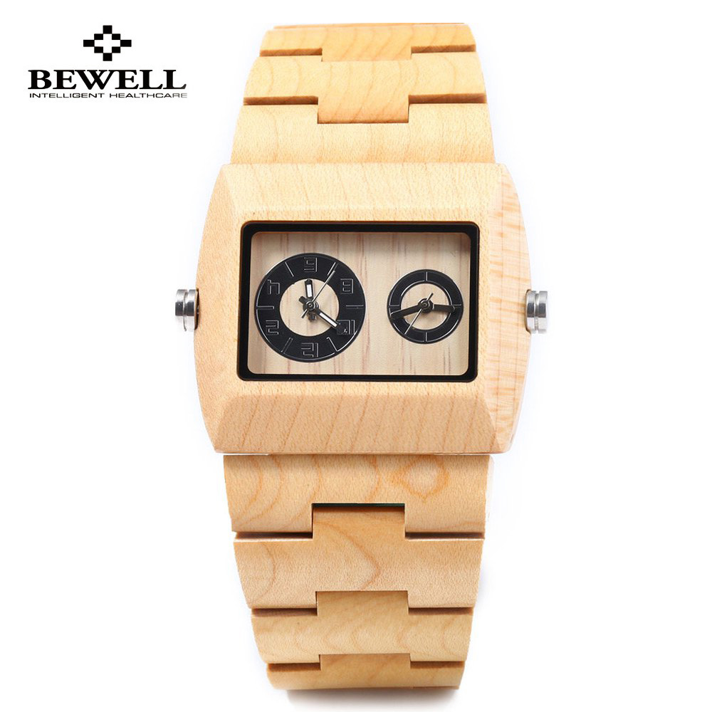 BEWELL Men's Watch Double-Movement-Wristwatch Top-Selling Luxury Quartz Wooden Natural