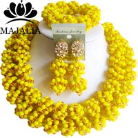 Fashion African Wedding Beads White Yellow Nigerian Wedding African Beads Jewelry Set Crystal Free Shipping Majalia