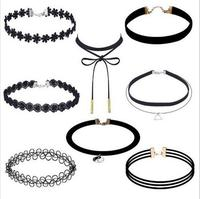 8pcs Set Fashion Jewelry Black Velvet Chokers Necklaces Set Gothic Necklace Ladies Handmade Collar Choker Collier