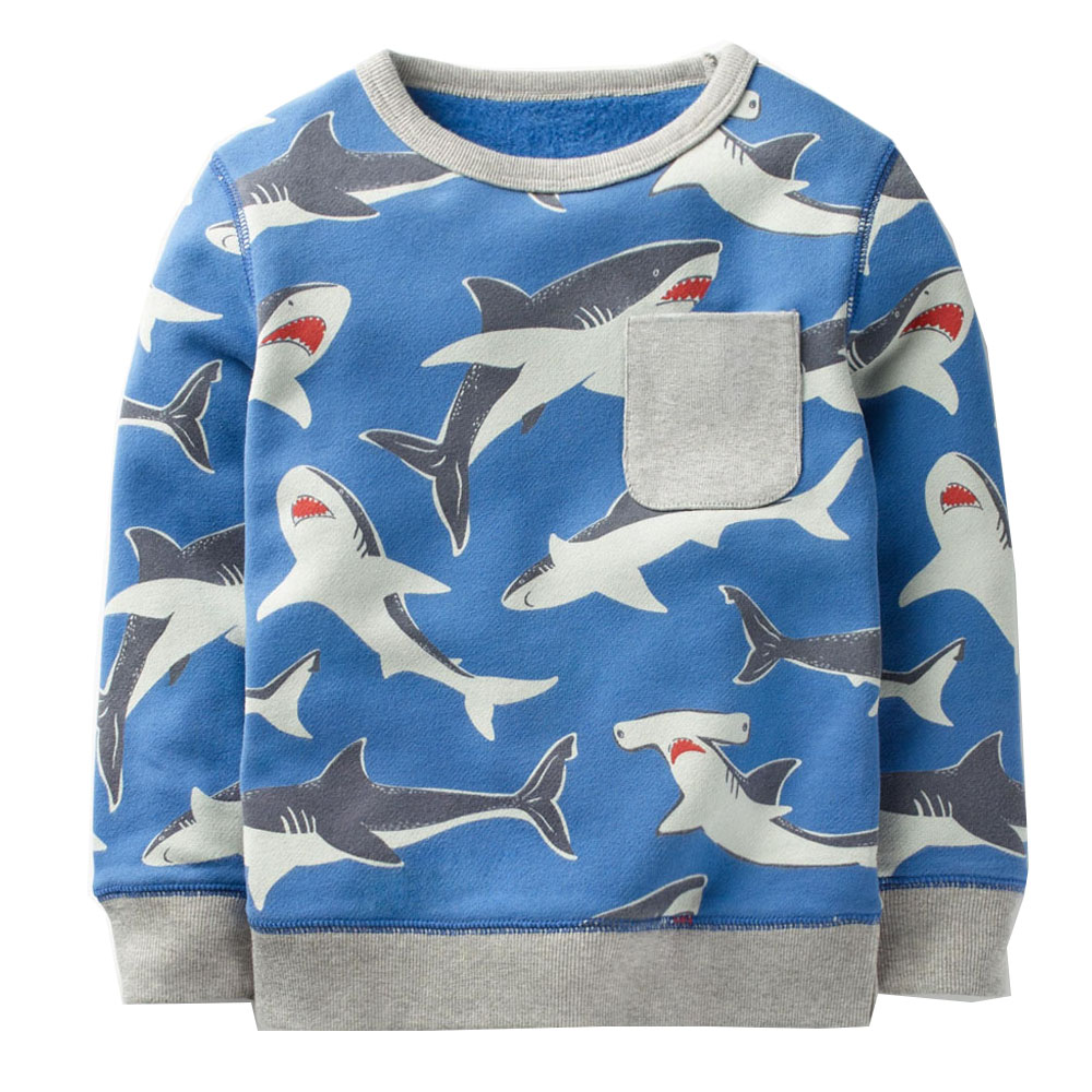 Boys T shirts Baby Boy Hoodie Kids Sweatshirt Animal Pattern Tops Autumn Winter Clothes Children Hoodies for Boys Clothing