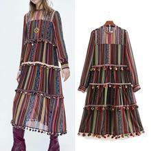 Women Vintage Striped Chiffon Fashion Dress Fur Ball Decorate Long Sleeve Pleated Female Casual Chic Maxi Lady Dresses Vestidos