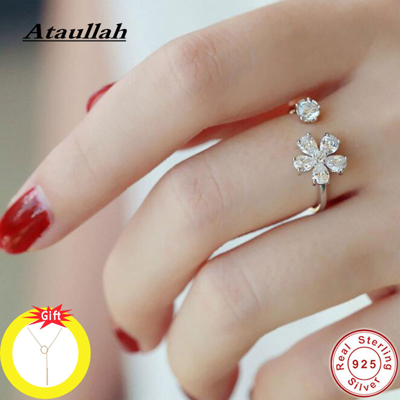 Ataullah Tiny Adjustable Luxury Flower Rings Sterling 925 Ring Silver For Women Girls Party Diamond Jewelry Gift RW069