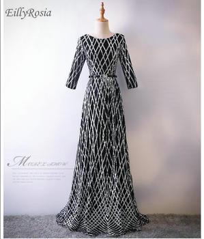 ed0a71d50c2 Product Offer. Три четверти с длинным рукавом мать невесты платье для  Свадебная вечеринка блестками черный Вечерние платья ...