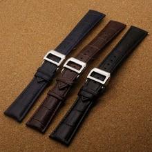 De alta calidad de cuero Genuino correa de reloj 20mm 21mm 22mm Marrón Negro reloj correa de la banda de pulsera con cosido Plegable hombres broche