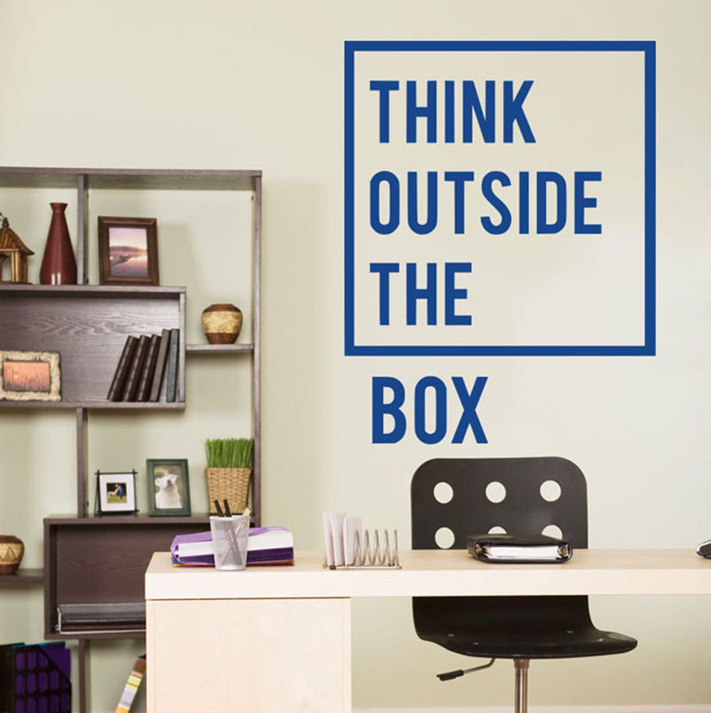 Vinyl Wall Decal Quote Inspirational Office Decor Stickers Think Outside The Box Quotes Art Murals B39 In From Home Garden