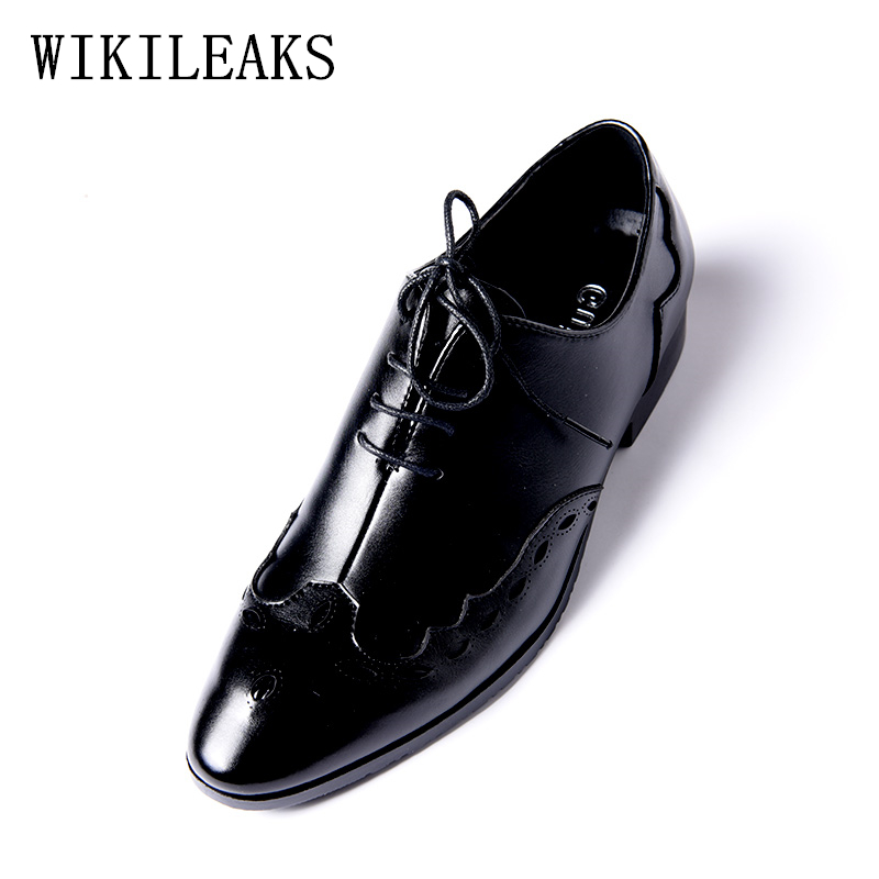 437d2c124058 designer brand brogues oxford shoes for men leather black wedding formal  shoes mens pointed toe dress shoes zapatillas hombre