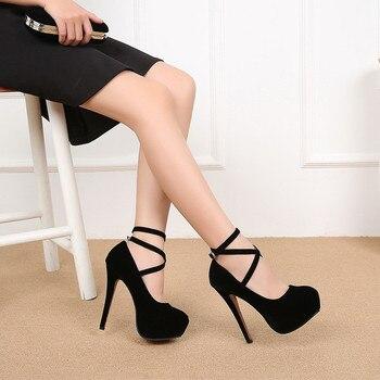 ffb72c224 Весенне-осенние новые модные туфли на высоком каблуке с перекрестными  ремешками; большие размеры 35-46; женские туфли для ночного клуба; Mujeres .