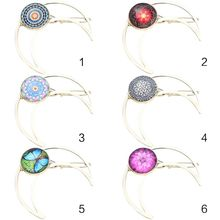 Women Metallic Hollow Out Crescent Moon Shaped Hair Clip Jewelry Glass Dome Mandala Floral Pattern Frog Bobby Pins Updo Barrette faux sapphire alloy hollow out floral barrette