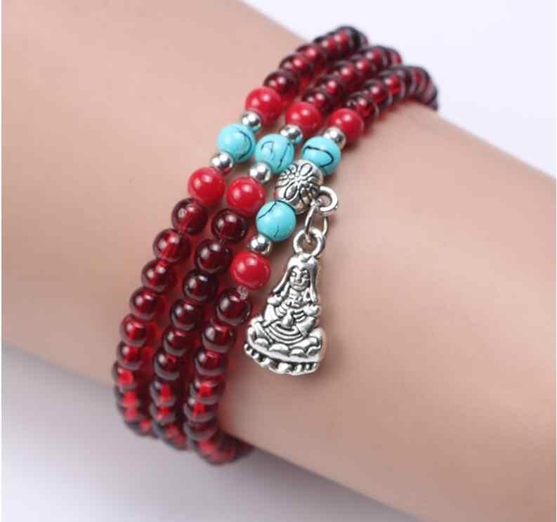 12 styl wielowarstwowy kryształowy Buddhal koraliki bransoletka moda damska bransoletka paciorki bransoletka biżuteria naturalne Bianshi 1 sztuk