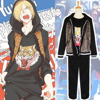 Yuri On Ice Cosplay Costume Yuri Plisetsky Leopard Coat Tiger T Shirt Pants Hoodie Japanese Anime