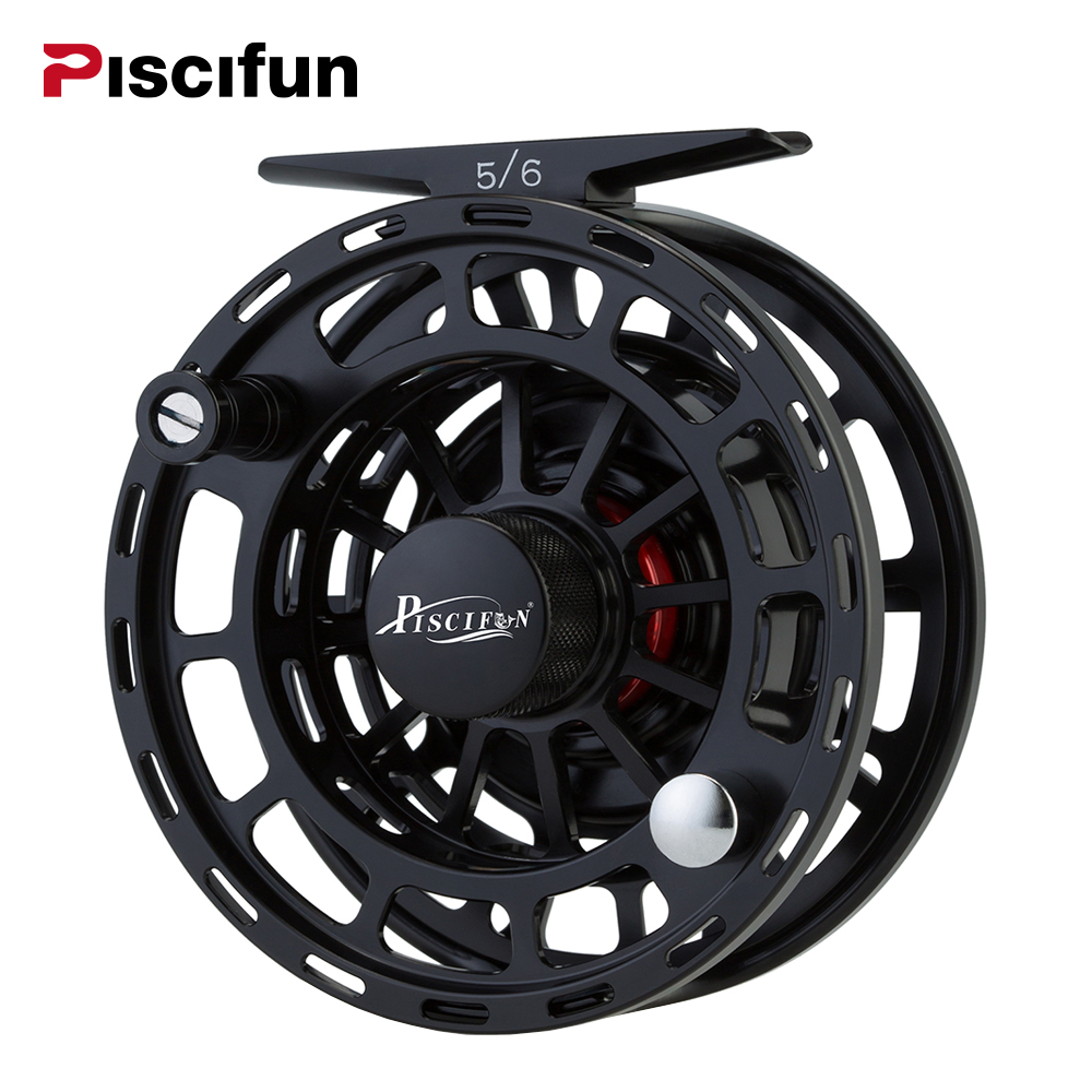 Piscifun Platte Black Fly Fishing Reel 3/4 5/6 7/8 WT CNC Machine Cut Fishing Reel Large Arbor Aluminum Fly Reel maximumcatch 06n 2 3 4 5 6 7 8wt fly fishing reel cnc machine cut large arbor aluminum silver color fly reel page 8