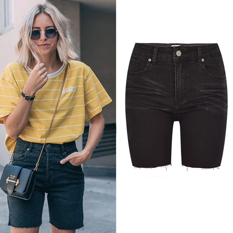 High Street Women Short Jeans High Waist Stretch Denim Pure Black Pants Female Cycling Skateboard Denim Pants Female Shorts in Jeans from Women 39 s Clothing