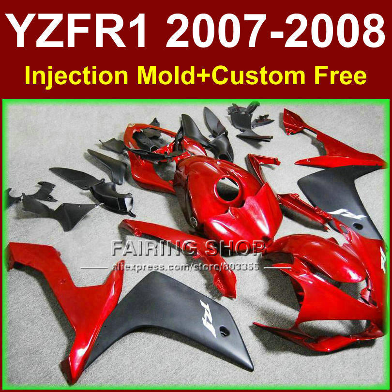 Red black motorcycle Injection mold bodywork for YAMAHA YZFR1 2007 2008 fairings YZF R1 YZF1000 body parts YZF 1000 07 08+7gifts vehicle plastic accessory injection mold china makers