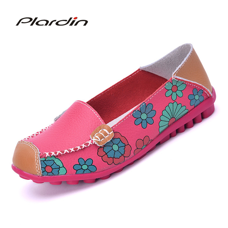 Plardin Cow Muscle Ballet Summer Flower Print Women Genuine Leather Shoes Woman Flat Flexible Nurse Peas Loafer Flats Appliquesm(China)