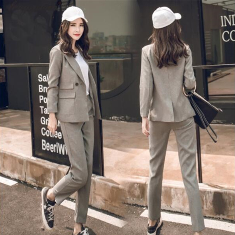 new Women 2 Pieces Sets Womens Business Suits black Pants Suit Formal OL Business Suit L ...