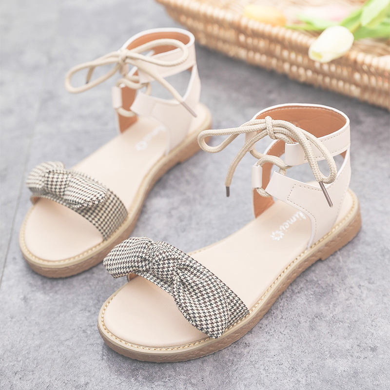 Sandals women's flat shoes bow 2019 summer new students cute fairy trend women's shoes 37