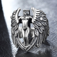Samothrace Angel Wings Ring 925 Silver Sterling Jewelry Vintage Cool Classic Feather Ring Aros Plata 925 Gothic Rings