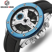GOLDENHOUR Watch Men Military Waterproof Quartz Men's Watch Top Brand Dual Display Male Clock Relogio Masculino Erkek Kol Saati