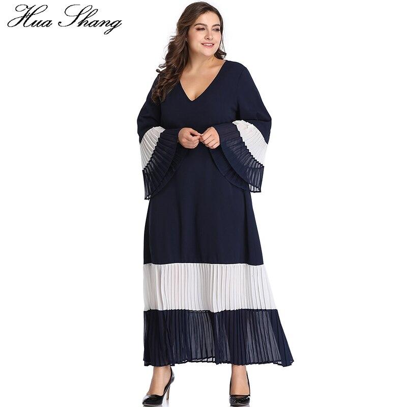 Women Summer Long Sleeve Dress V Neck Flare Sleeve Elegant Patchwork Pleated Long Boho Dress Loose Plus Size Tunic Beach Dresses