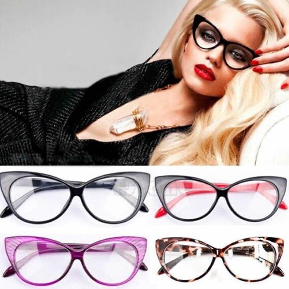 2017 Neue Cat Eye Brillen Sexy Gestreiften Retro Mode Frauen Damen Brillen Rahmen Klare Linse Vintage Brillen 6 Farben