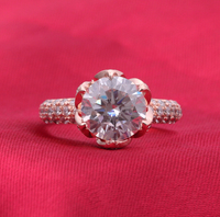 Luxury 2 Carat SONA Synthetic Diamond Fashion Ring 925 Sterling Silver Gold Plated Lotus Shape Ring