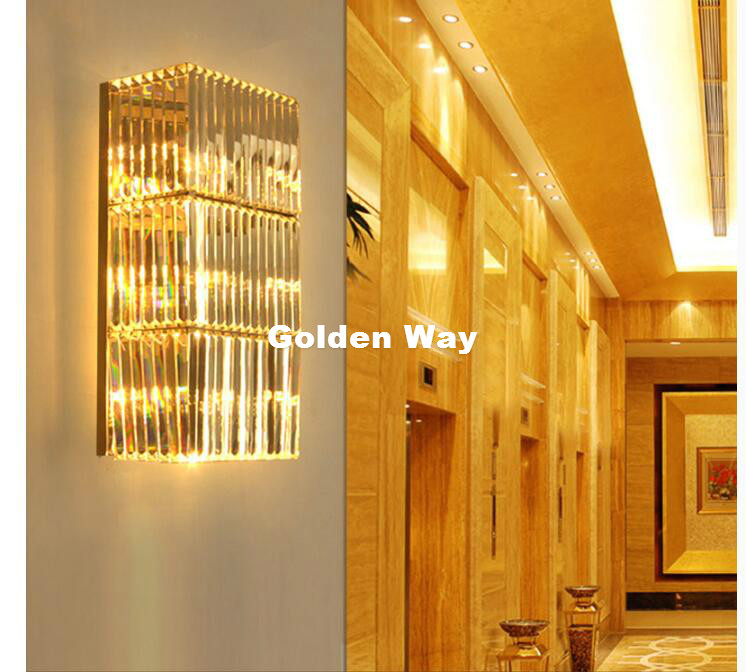 Free Shipping Golden/Chrome W20cm H50cm Wall Lamp Wall Sconce Bedside Living Room Wall Light K9 Clear Crystal Home Decoration