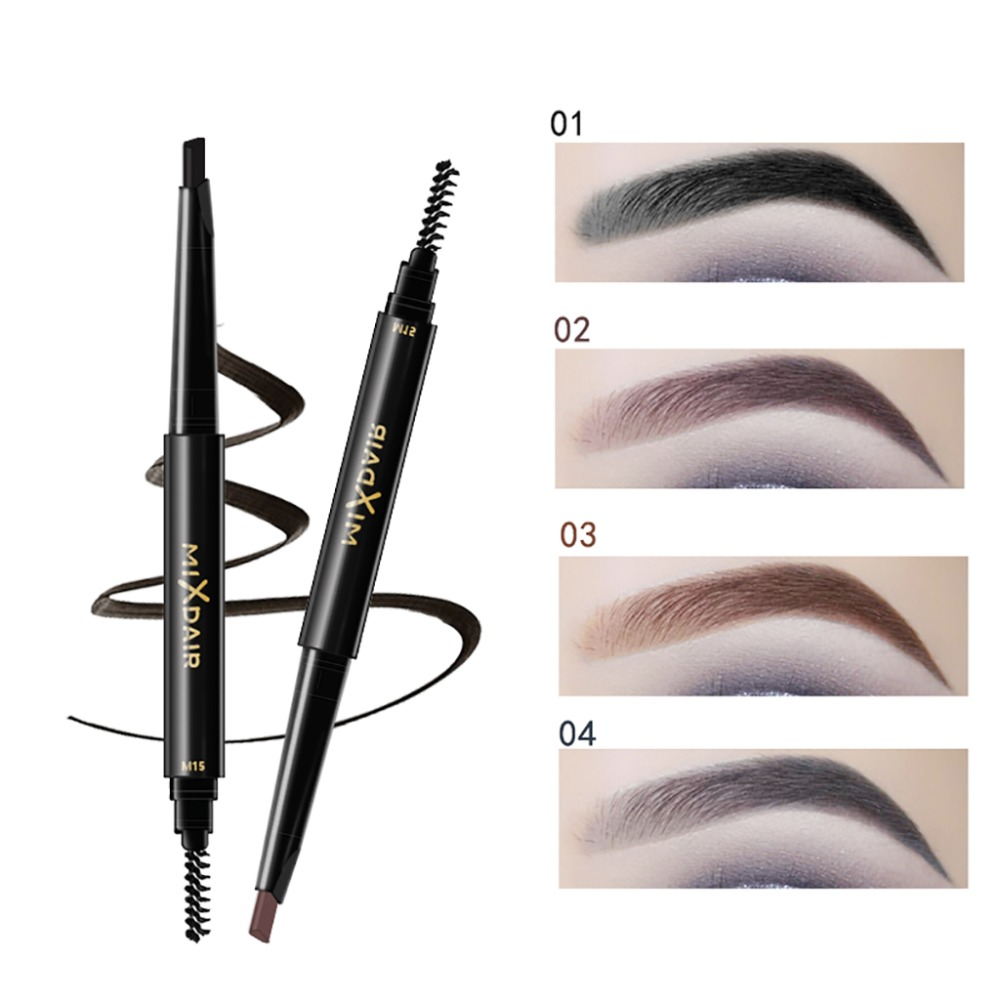 MIXDAIR double ended eyebrow pencil long lasting black coffee Triangular head automatic rotation eyebrow drawing pen MD008 5