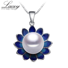 Lacey Pearl Jewelry pendant necklace,Genuine natural Pearl Necklace,cloisonne Pearl pendant Women 2017 new Enamel Necklace недорого