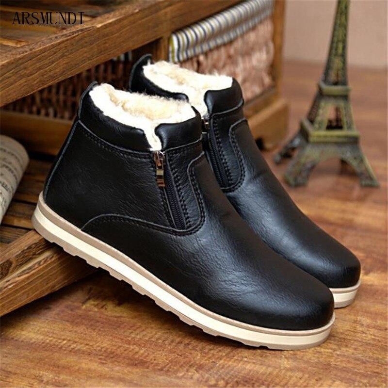 Cheville L622 Neige Mode Chaussures Cuir Peluche Taille bleu Fourrure En Bottes marron Arsmundi Noir Hommes Casual 44 De 2018 39 Hiver Chaud UnPqZ7