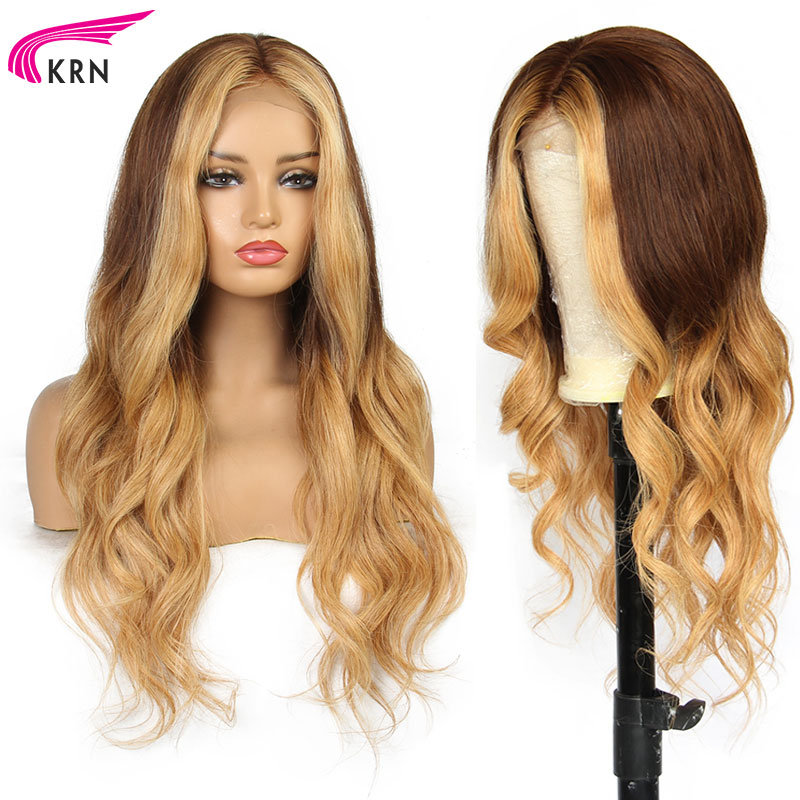 Highlights wavyPre Plucked Lace Front Human Hair Wigs With Baby Hair 8 26 Inch Remy Hair